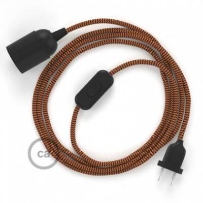 SnakeBis Leuchten-Zuleitung mit Textilkabel Zick Zack Gold/Bordeaux RZ23