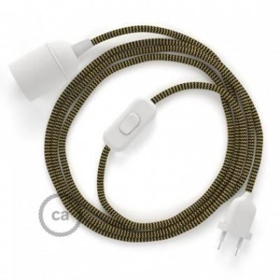 SnakeBis Leuchten-Zuleitung mit Textilkabel Zick Zack Gold/Schwarz RZ24