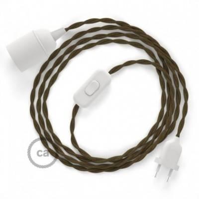 SnakeBis Leuchten-Zuleitung mit Textilkabel Braun Baumwolle TC13