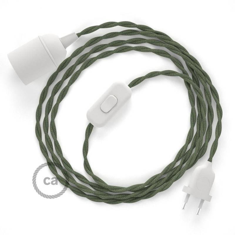 SnakeBis Leuchten-Zuleitung mit Textilkabel Grau Grün Baumwolle TC63