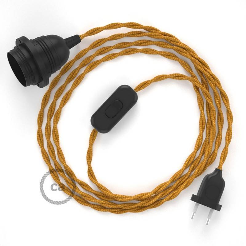 SnakeBis Leuchten-Zuleitung mit Textilkabel Gold Seideneffekt TM05