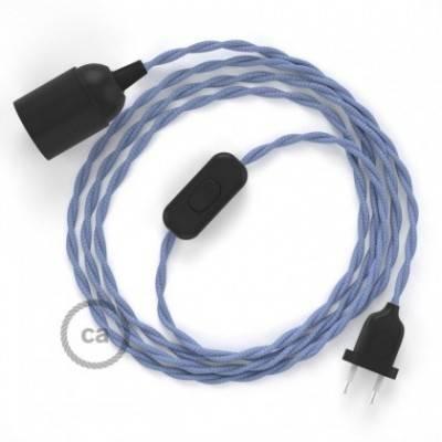 SnakeBis Leuchten-Zuleitung mit Textilkabel Lila Seideneffekt TM07