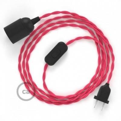 SnakeBis Leuchten-Zuleitung mit Textilkabel Fuchsia Seideneffekt TM08