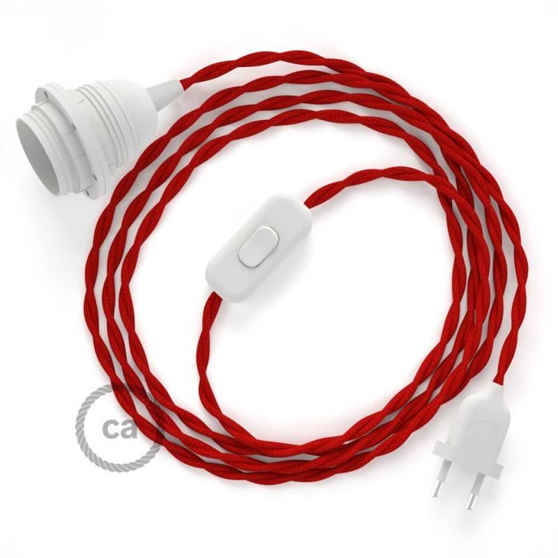 SnakeBis Leuchten-Zuleitung mit Textilkabel Rot Seideneffekt TM09