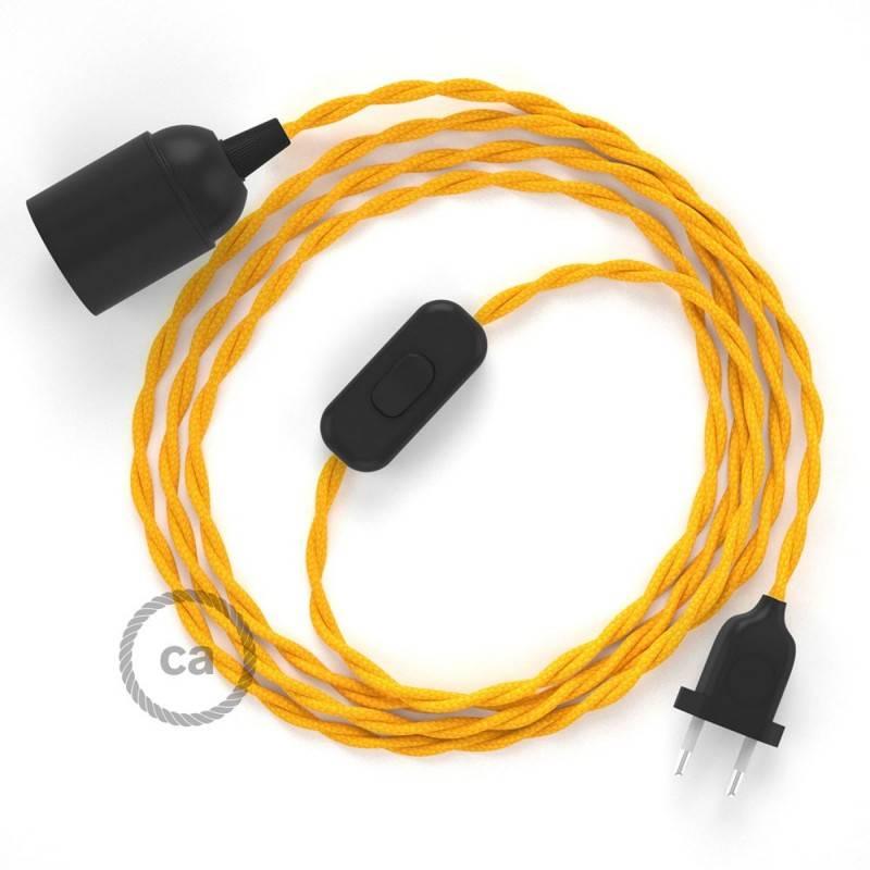 SnakeBis Leuchten-Zuleitung mit Textilkabel Gelb Seideneffekt TM10
