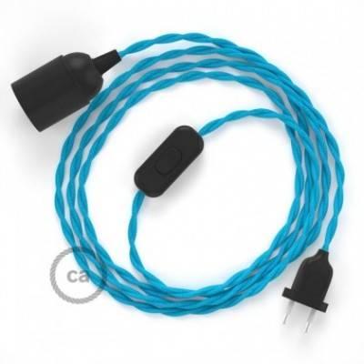 SnakeBis Leuchten-Zuleitung mit Textilkabel Türkis Seideneffekt TM11
