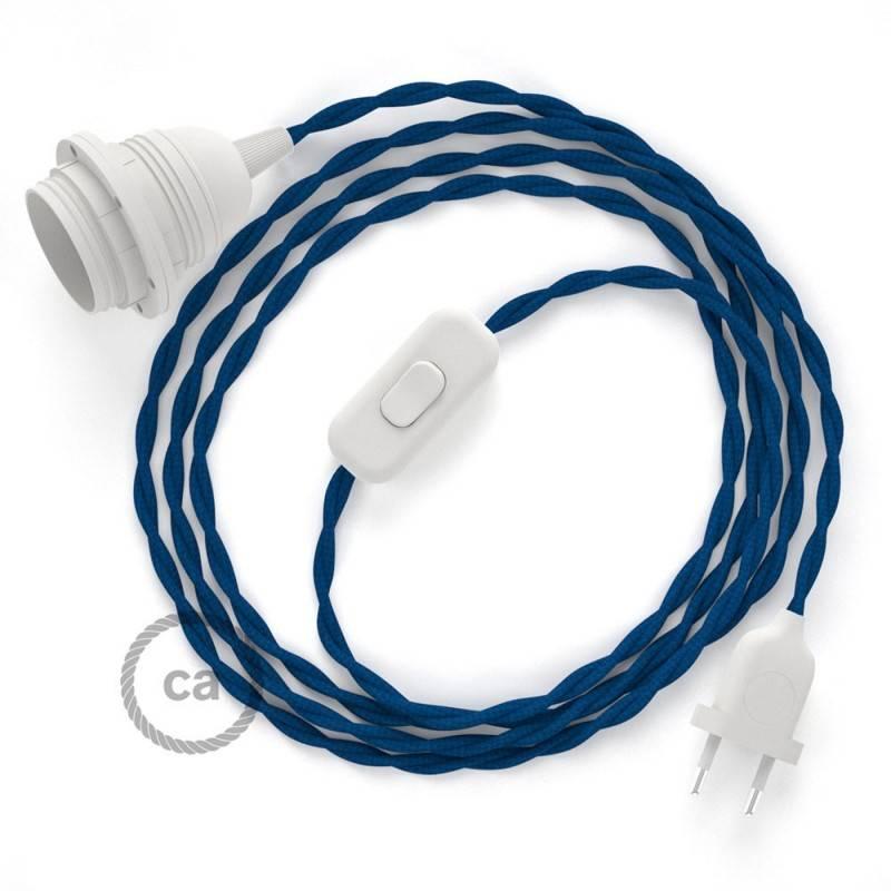 SnakeBis Leuchten-Zuleitung mit Textilkabel Blau Seideneffekt TM12