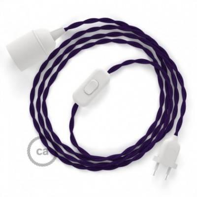 SnakeBis Leuchten-Zuleitung mit Textilkabel Violett Seideneffekt TM14
