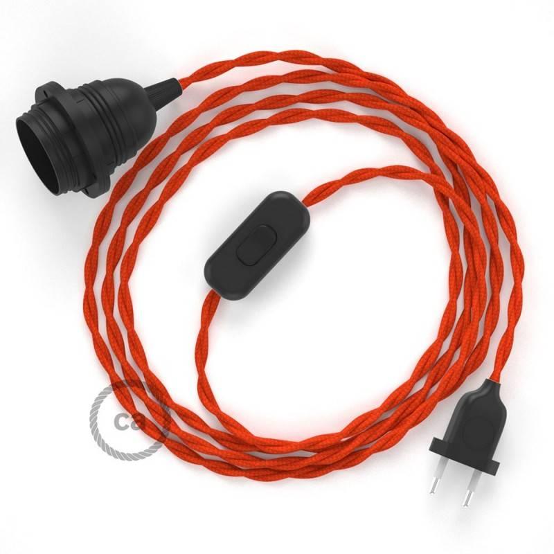 SnakeBis Leuchten-Zuleitung mit Textilkabel Orange Seideneffekt TM15