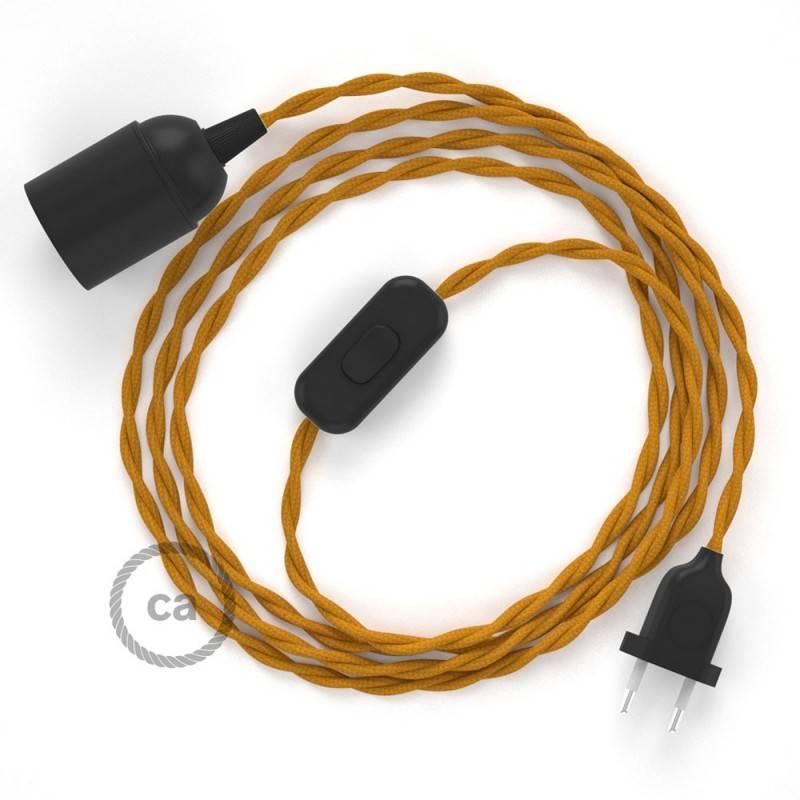 SnakeBis Leuchten-Zuleitung mit Textilkabel Senf Seideneffekt TM25