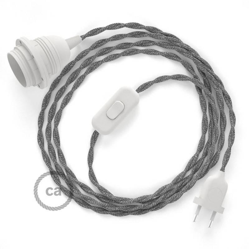 SnakeBis Leuchten-Zuleitung mit Textilkabel Grau Natürlichem Leinen TN02
