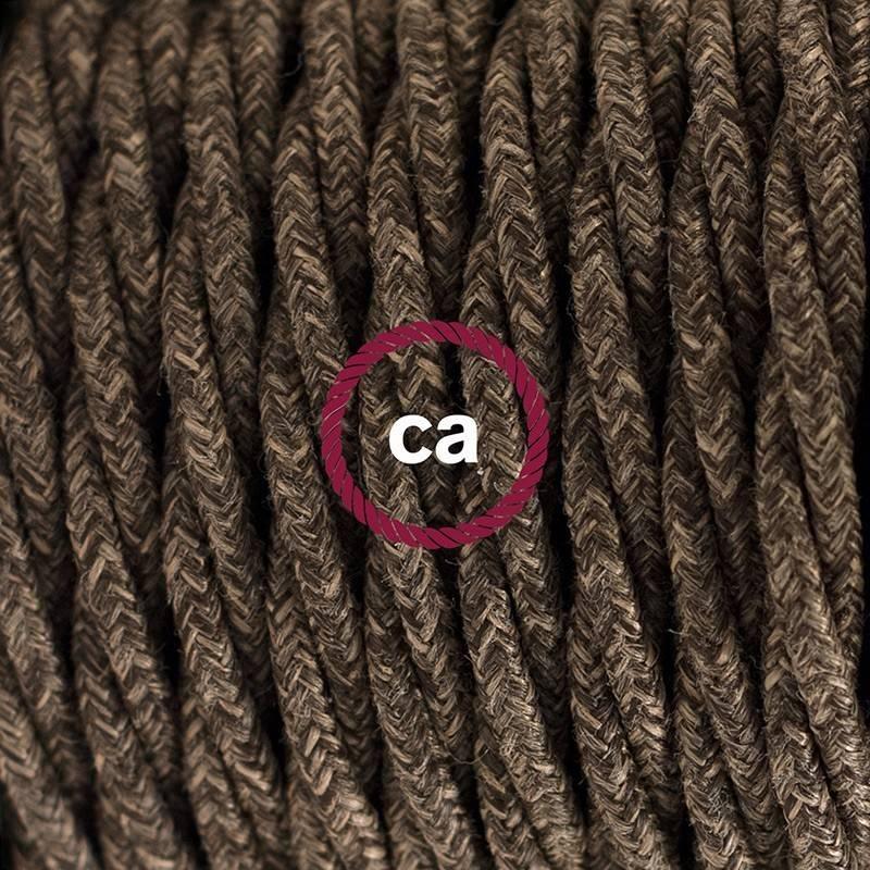 SnakeBis Leuchten-Zuleitung mit Textilkabel Braun Natürlichem Leinen TN04