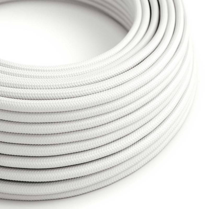 Textilkabel rund, weiß mit Seideneffekt, RM01