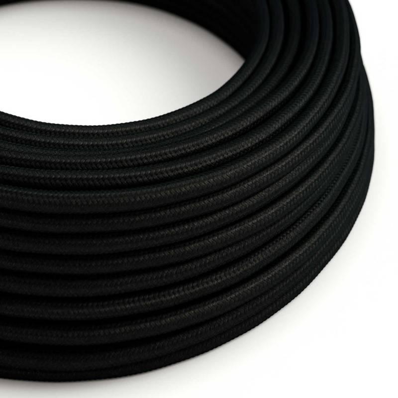 Textilkabel rund, schwarz mit Seideneffekt, RM04