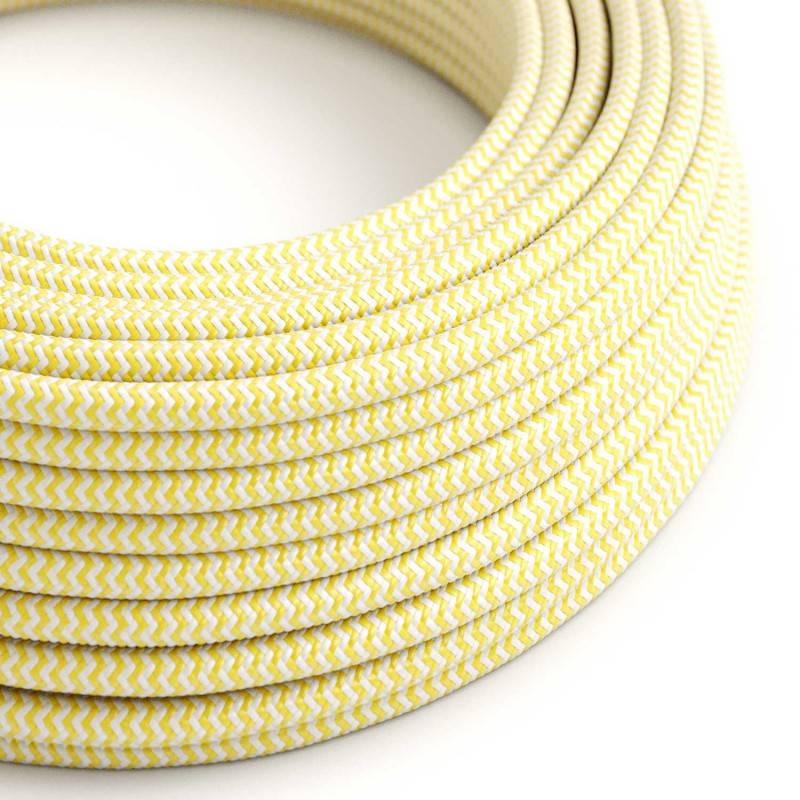 Textilkabel rund, Zick-Zack Muster, gelb mit Seideneffekt, RZ10