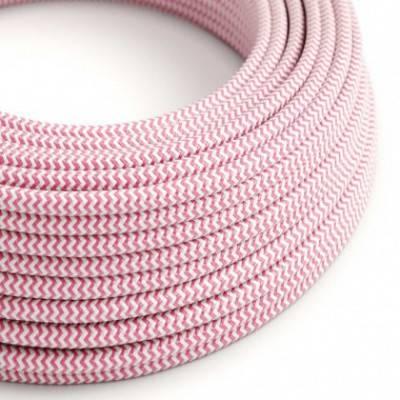 Textilkabel rund, Zick-Zack Muster, fuchsia mit Seideneffekt, RZ08