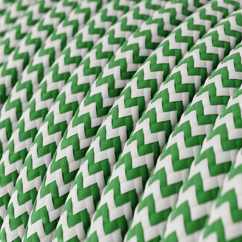 Textilkabel rund, Zick-Zack Muster, grün mit Seideneffekt, RZ06