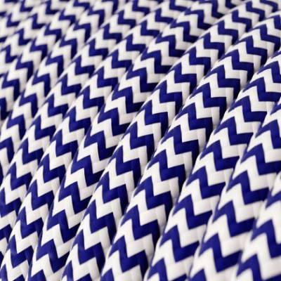 Textilkabel rund, Zick-Zack Muster, blau mit Seideneffekt, RZ12