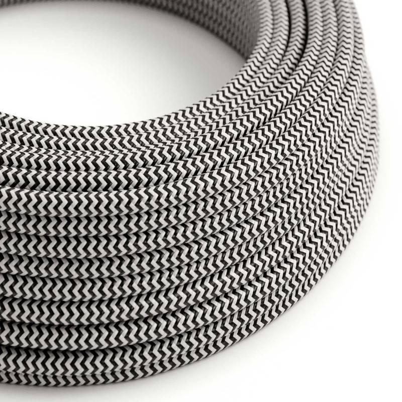 Textilkabel rund, Zick-Zack Muster, schwarz mit Seideneffekt, RZ04