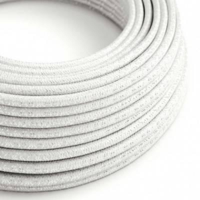 Textilkabel geflochten, weiß glitzer Seideneffekt, RL01
