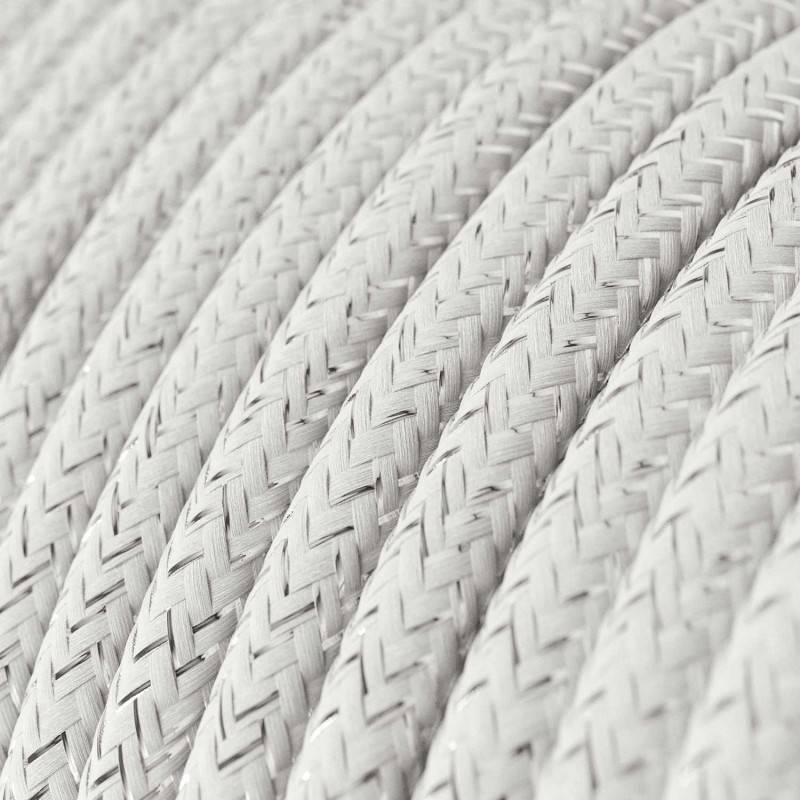 Textilkabel rund, weiß glitzer Seideneffekt, RL01