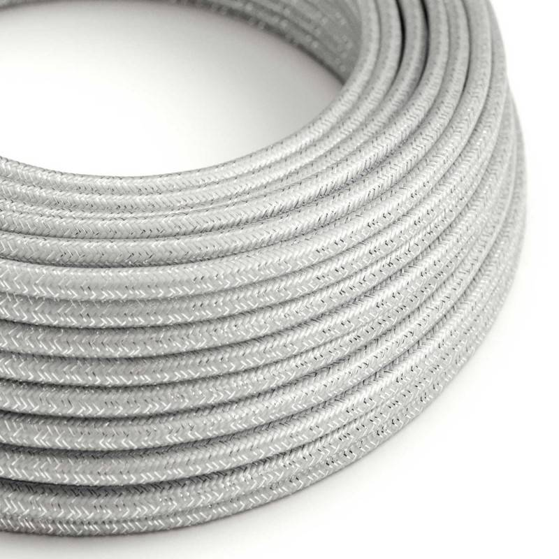 Textilkabel rund, silber glitzer Seideneffekt, RL02