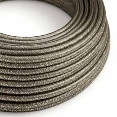 Textilkabel geflochten, grau glitzer Seideneffekt, RL03