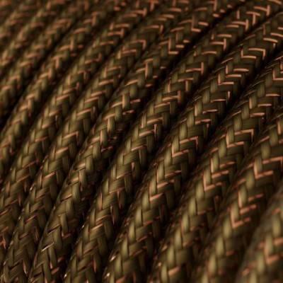 Textilkabel rund, braun glitzer Seideneffekt, RL13