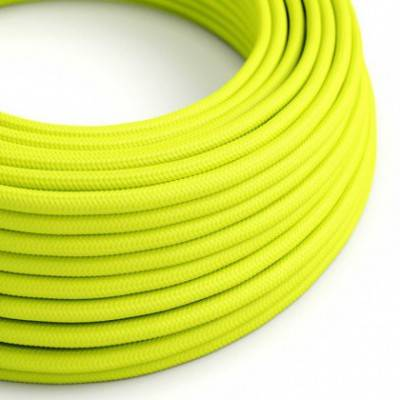 Textilkabel rund, gelb fluo mit Seideneffekt, RF10