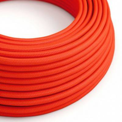 Textilkabel rund, orange fluo mit Seideneffekt, RF15