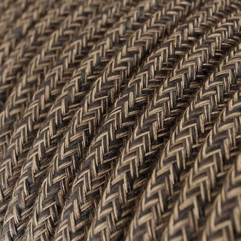 Textilkabel rund, braun natürliche leine, RN04