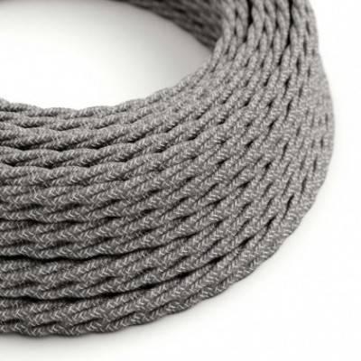 Textilkabel geflochten, grau natürliche Leine, TN02