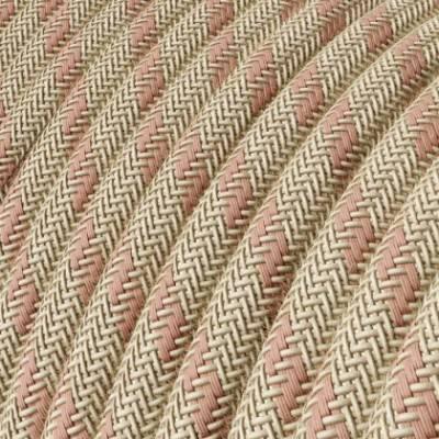 Textilkabel rund, Streifen, antikrosa natürliche Baumwoll Leine, RD51