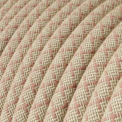 Textilkabel rund, Raute, antikrosa natürliche Baumwoll Leine, RD61