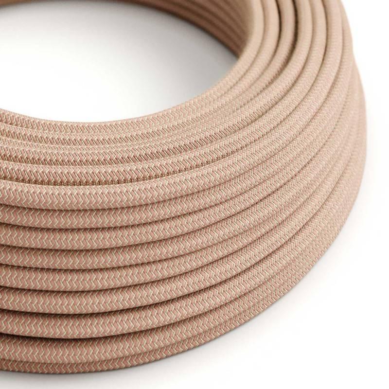 Textilkabel rund, Zick-Zack Muster, antikrosa natürliche Baumwoll Leine, RD71