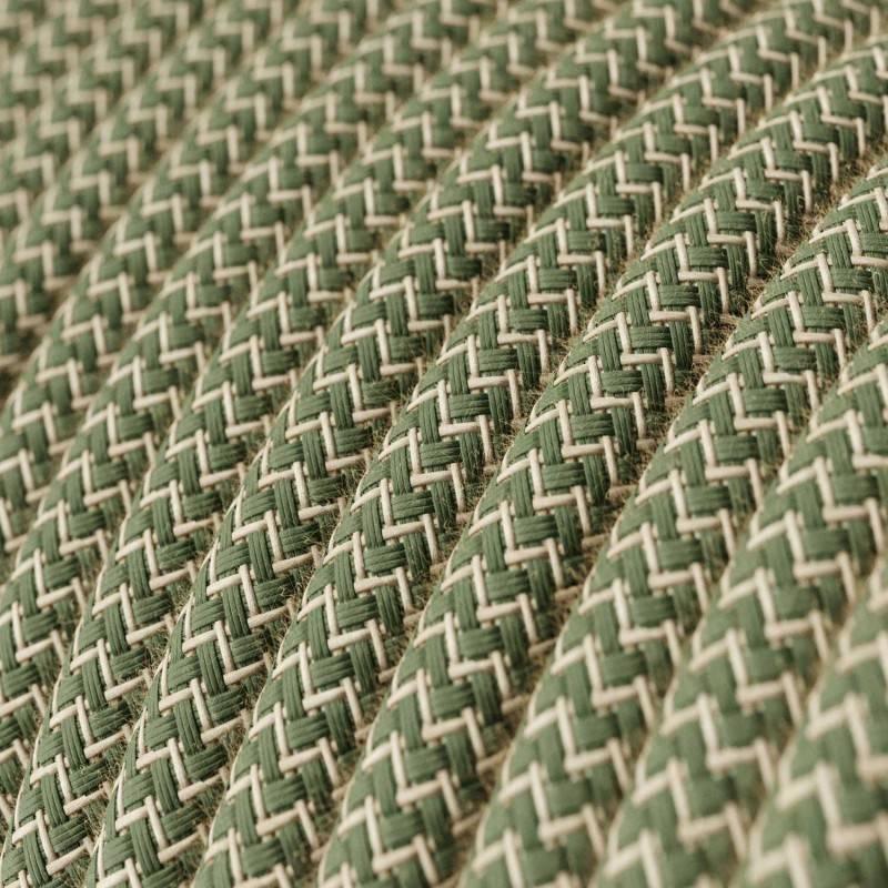 Textilkabel rund, Zick-Zack Muster, thymiangrün natürliche Baumwoll Leine, RD72