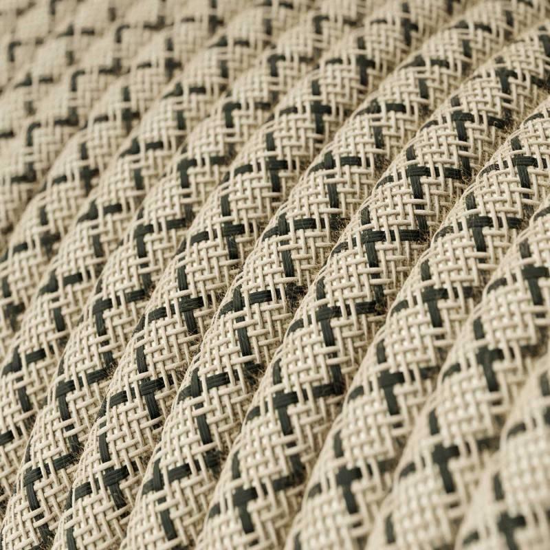 Textilkabel rund, Raute, anthrazit natürliche Baumwoll Leine, RD64