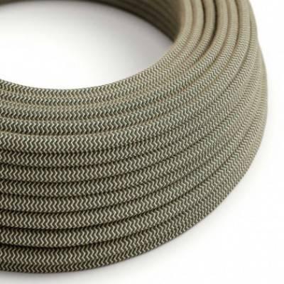 Textilkabel rund, Zick-Zack Muster, anthrazitnatürliche Baumwoll Leine, RD74