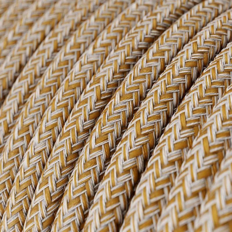 Textilkabel rund, Rost Tweed, braun Glitzer natürliche Baumwoll Leine, RS82