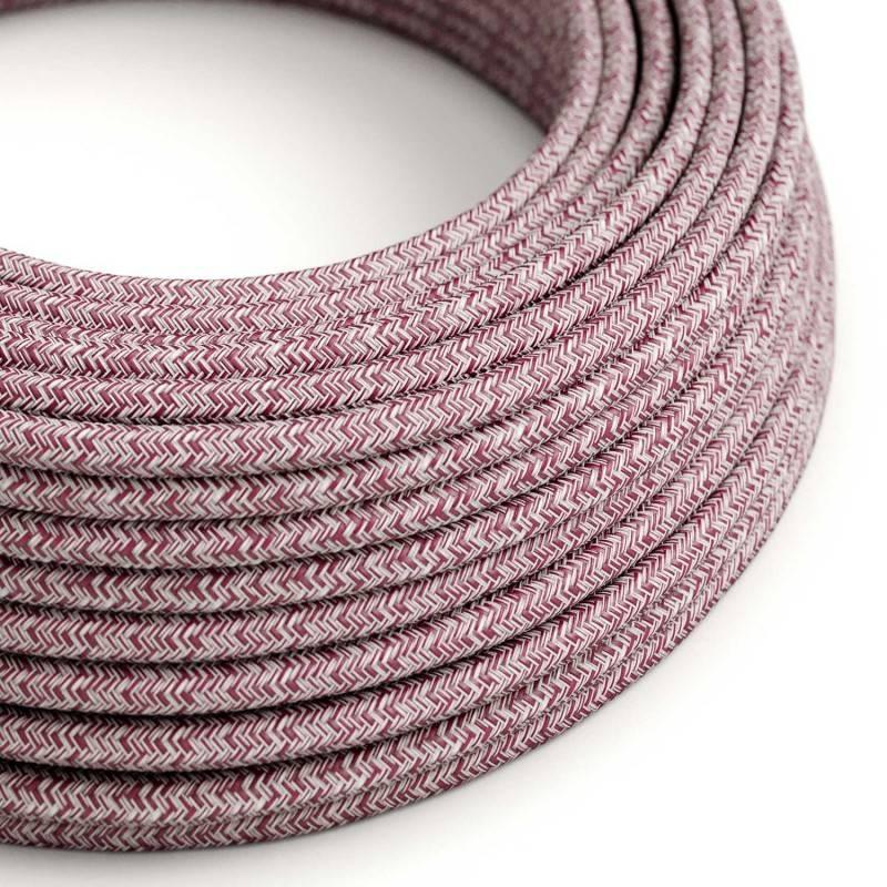 Textilkabel rund, Burgundy Tweed, rot Glitzer natürliche Baumwoll Leine, RS83