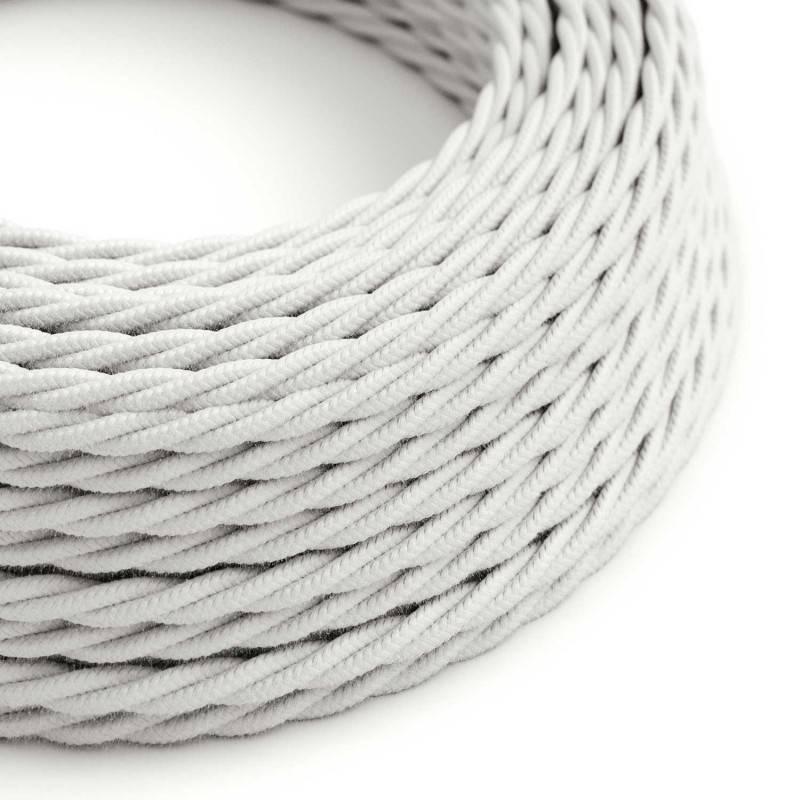 Textilkabel geflochten, weiß Baumwolle, TC01