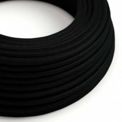 Textilkabel rund, schwarz Baumwolle, RC04