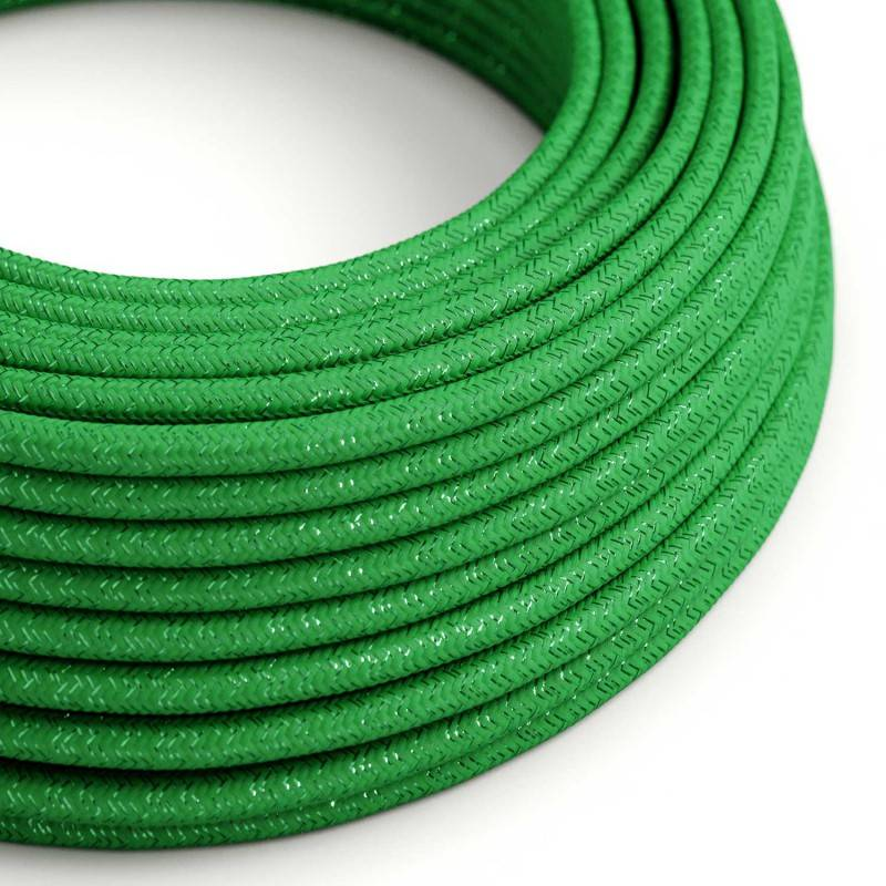 Textilkabel rund, grün glitzer mit Seideneffekt, RL06