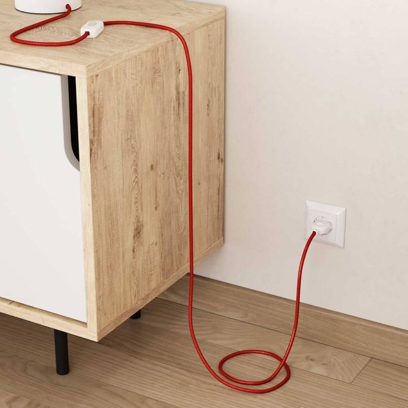 Textilkabel rund, rot glitzer mit Seideneffekt, RL09