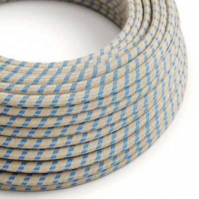 Textilkabel rund, Streifen, blau natürliche Baumwoll Leine, RD55