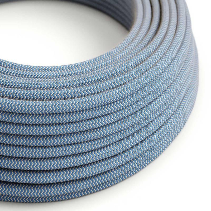 Textilkabel rund, Zick-Zack Muster, blau natürliche Baumwoll Leine, RD75
