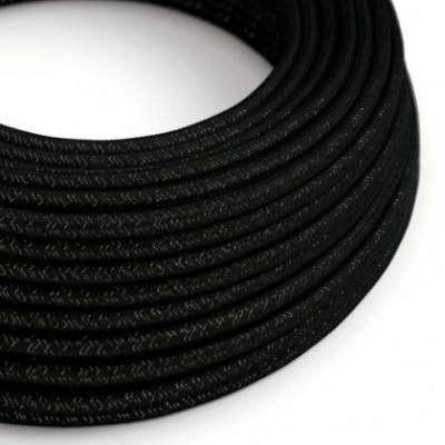 Textilkabel rund, schwarz Glitzer mit Seideneffekt, RL04