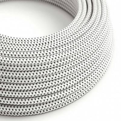 Textilkabel rund, schwarz weiß mit 3D Seideneffekt, RT14