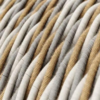 Textilkabel geflochten, country natürliche Baumwoll Leine mit Jute, TN07