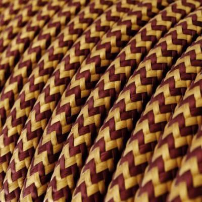 Textilkabel rund, Zick-Zack Muster, gold/bordeaux mit Seideneffekt, RZ23